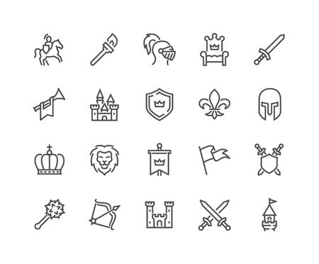 Icônes médiévales de ligne Vecteurs