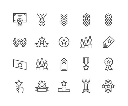 Ensemble simple d'icônes de ligne vectorielles liées au classement. Contient des icônes telles que le classement par étoiles, la première place, la bandoulière et plus encore. Course modifiable. 48x48 pixels parfait.