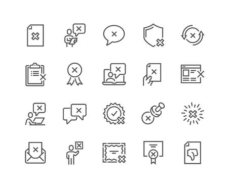 Conjunto simple de iconos de línea de vectores relacionados con el rechazo. Contiene iconos como Sello de rechazo, Cancelación, Rechazo y más. Trazo editable. 48x48 píxeles perfectos. Ilustración de vector