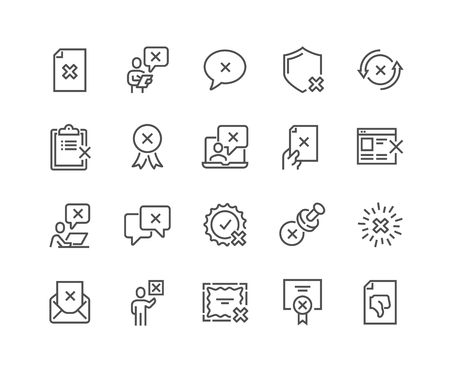 Simple Set of Reject Related Vector Line Icons. Contains such Icons as Refuse Stamp, Cancellation, Decline and more. Editable Stroke. 48x48 Pixel Perfect. Vectores