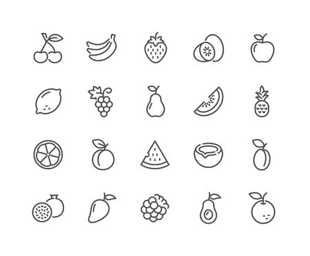 Iconos de frutas de línea