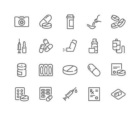 Iconos de drogas médicas de línea