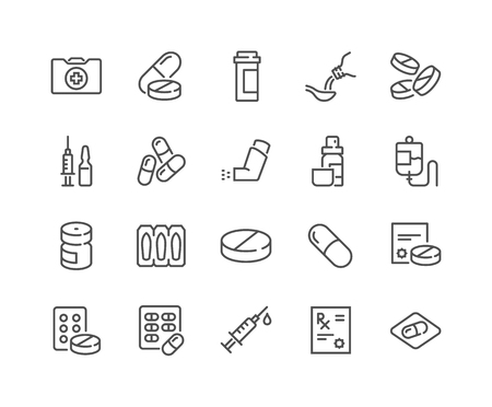 Line Medical Drugs Icons 写真素材 - 118849373