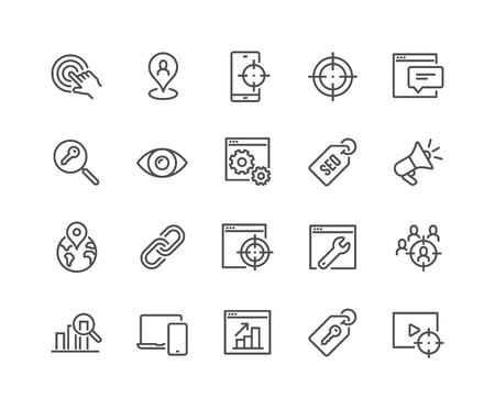 Einfacher Satz von SEO-bezogenen Vektorliniensymbolen. Enthält Symbole wie Ziel, Beobachtungsliste, Website-Statistiken und mehr. Bearbeitbarer Strich. 48x48 Pixel perfekt.