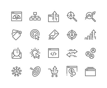 Einfacher Satz von SEO-bezogenen Vektorliniensymbolen. Enthält Symbole wie Umsatzsteigerung, Verkehrsmanagement, soziale Netzwerke und mehr. Bearbeitbarer Strich. 48x48 Pixel perfekt.