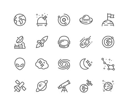 Ikony przestrzeni linii Ilustracje wektorowe