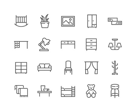 Simple Set of Furniture Related Vector Line Icons. Contains such Icons as Children s Bed, Sofa, Hanger and more. Editable Stroke. 48x48 Pixel Perfect.