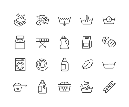 Eenvoudige set van Wasserij gerelateerde Vector lijn iconen. Bevat pictogrammen als maatbeker, strijkmachine, voor- en bovenbelasting en meer. Bewerkbare lijn. 48x48 pixelperfect.