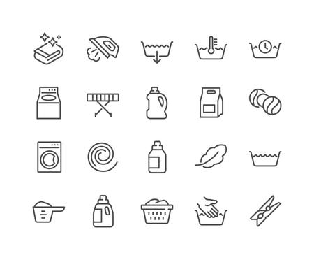 Prosty zestaw pralni związanych wektor linii ikon. Zawiera takie ikony jak miarka, prasownica, ładowanie od przodu i od góry i wiele innych. Obrys edytowalny. 48x48 pikseli idealny.
