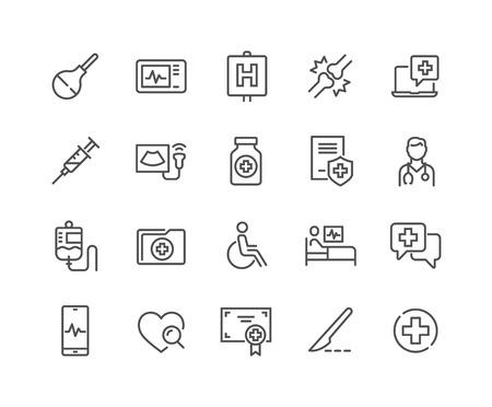 Conjunto simple de iconos de línea de vectores relacionados con la medicina. Contiene iconos como Doctor, Ultrasonido, Historial de casos y más. Trazo editable. 48x48 píxeles perfectos. Ilustración de vector