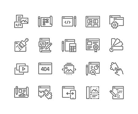 Einfache Reihe von Web-Entwicklungsbezogenen Vektor-Linien-Icons. Enthält Symbole wie Inhalt, Bildergalerie, Layouteinstellungen und mehr. Bearbeitbarer Strich. 48x48 Pixel perfekt.