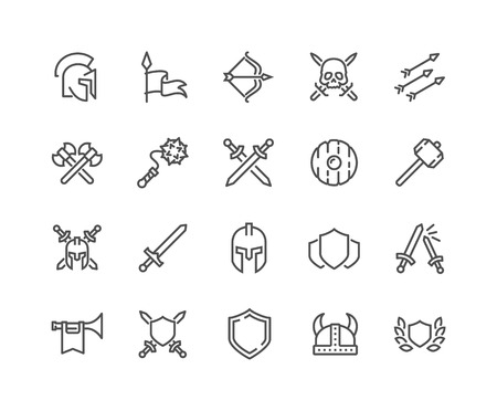 Simple Set of Archaic War Related Vector Line Icons. Contains such Icons as Helmet, Sword, Shield and more. Editable Stroke. 48x48 Pixel Perfect. Stock Illustratie