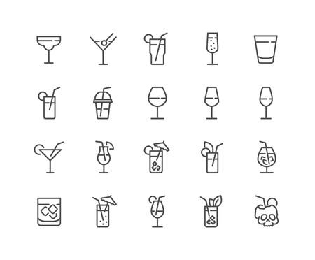 Ensemble simple d'icônes de ligne vectorielles liées au cocktail. Contient des icônes telles que Rock, Martini, Champagne Glass et plus encore. Course modifiable. 48x48 pixels parfait. Vecteurs