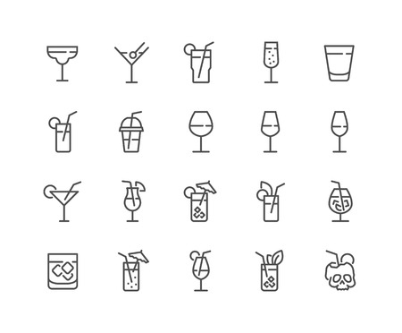 Simple Set of Cocktail Related Vector Line Icons. Contains such Icons as Rock, Martini, Champaign Glass and more. Editable Stroke. 48x48 Pixel Perfect. Illustration