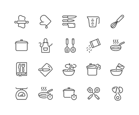 Simple Set of Cooking Related Vector Line Icons. Contains such Icons as Kitchen Utensils, Boiling and Frying Time, Cookbook and more. Editable Stroke. 48x48 Pixel Perfect. Illustration