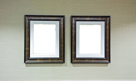 memento: Frame on white wall  Stock Photo