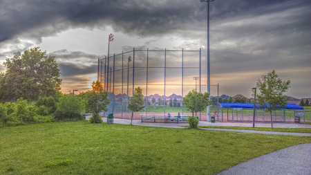 uprights: Panorama view of baseball field
