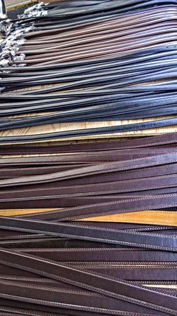 emporium: Belts in marketplace Stock Photo