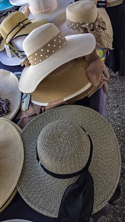 emporium: Hats in marketplace Stock Photo