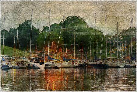 canvas art: Watercolor boats