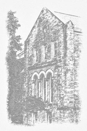 Etching of old building Reklamní fotografie