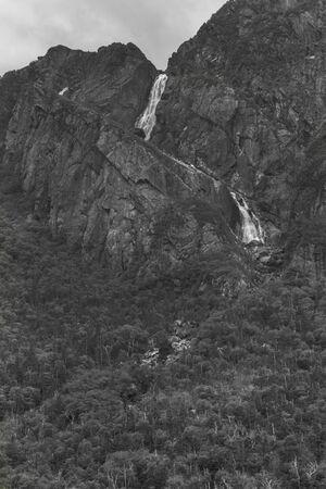 Black and white waterfall Stock Photo