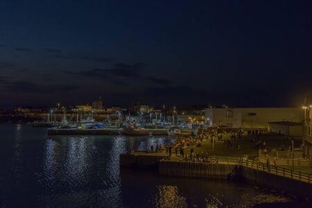 Bonavista Newfoundland harbour at night.