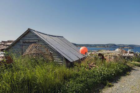 A rural lobster hut overgrown in grass