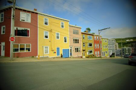 Old style colorful  homes in the summer time
