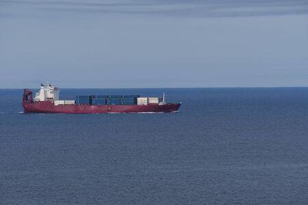 A cargo ship on the ocean