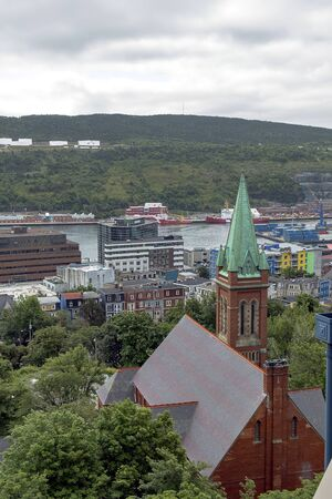 St John`s harbour cityscape 版權商用圖片