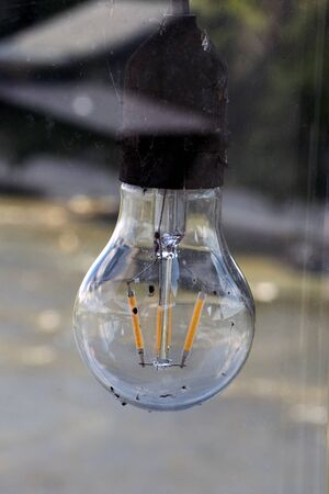 A lightbulb with gold filament.