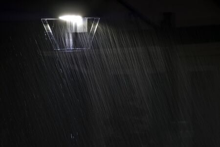 A white light background in the rain