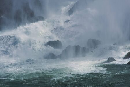 A raging  water over falls.