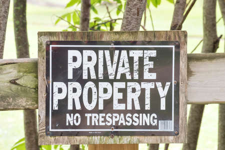 A private property no trespassing sign