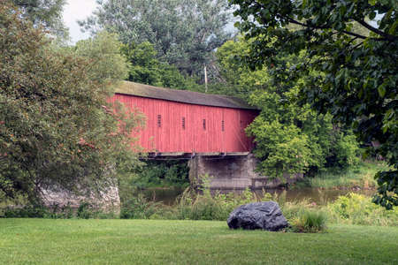 An old red covered bridge