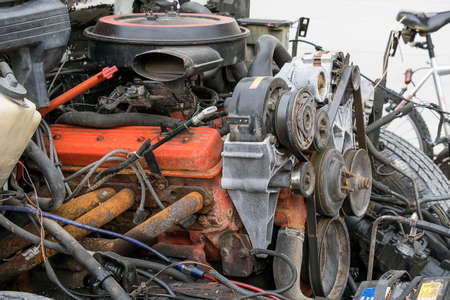 An old exposed car engine Stock Photo