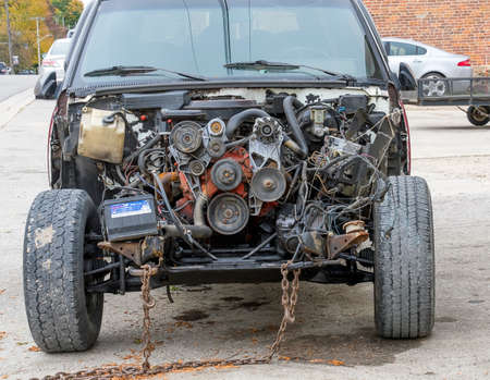 An old exposed car engine Editorial