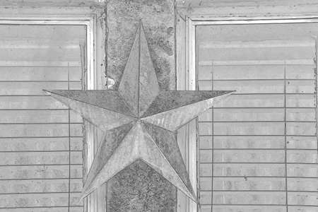 A sketch of star on the window Stock Photo
