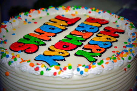 A Birthday Cake with writing