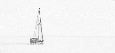 A sketch of various yachts on water. Stock Photo