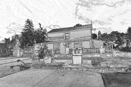 A sketch of an old gas station Stock Photo