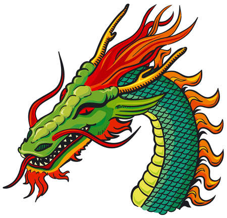 Dragon head color Vector