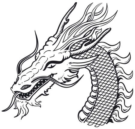 black and white dragon: Dragon head