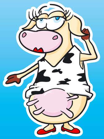 cartoon mountain: Beauty Cow Illustration
