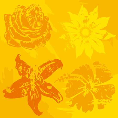 Four grunge flowers symbol Stock Vector - 3139967