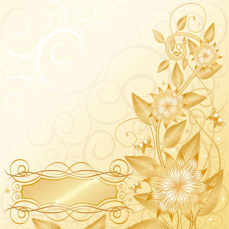 Floral gold with text space Vector