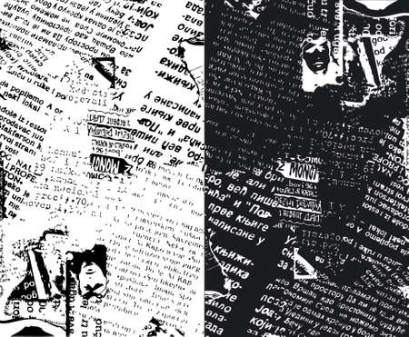 Newspaper grunge b&w Illustration