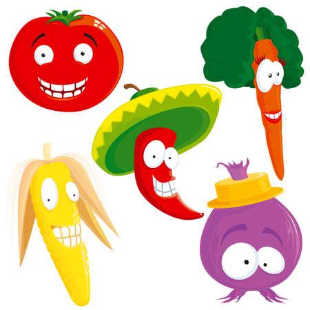 funny tomatoes: Vegetable set Illustration