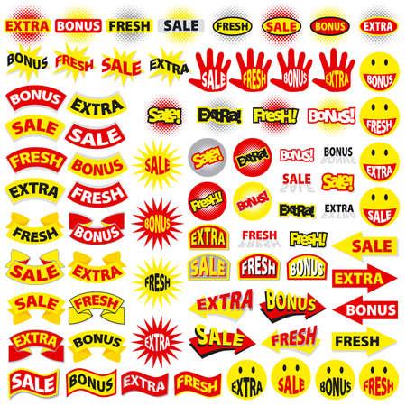 Sale, extra, fresh, bonus - stickers Stock Vector - 3173481